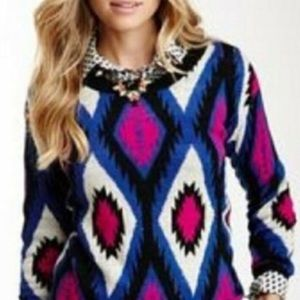 Flying Tomato Black Pink Sz Small Aztec Sweater